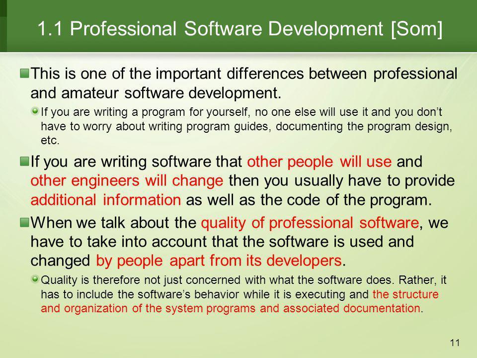 1.1 Professional Software Development [Som]